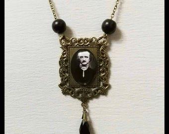 Edgar Allan Poe necklace jewelry cammeo the raven gothic pendant