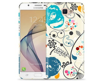 For Samsung Galaxy J7 Prime Case (not t-mobile)- Galaxy SM-G610F Case #Paisley Artwork - aka J7 2017 - Design Hard Phone Case