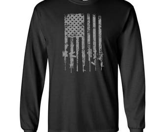 Tattered Distressed American Flag Military Rifle Long Sleeve T Shirt