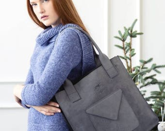 Gray leather tote bag - gray leather shoulder bag - grey leather bag - grey leather purse - large leather bag - purse with pocket