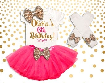 Personalized 6th Birthday Outfit Pink and Gold 6th Birthday Tutu Set 6th Birthday Outfit Birthday Tutu Set 6th Birthday Shirt