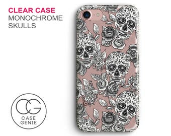 Monochrome Mexican Skulls Clear Phone Case for iPhone 7 Plus, 7, 6, 6s Cell Phone Cover Clear and Frosted Transparent Skull DESIGN2