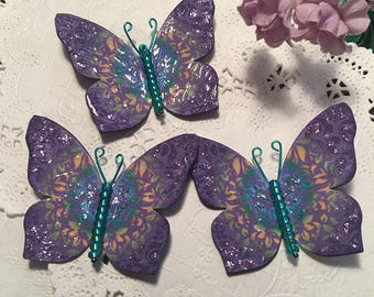 Purple Tie Dye Green Glass Bodied Butterflies DarlingArtByValeri Set for Scrapbooking Embellishment Mini Albums Cards Wedding Gifts