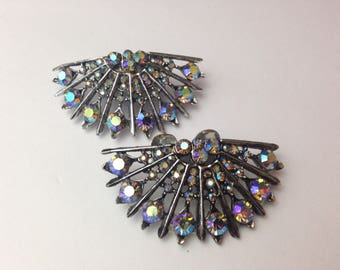 60s Shoe Clips Peacocks Rhinestone Silver Tone Multicolor Stones