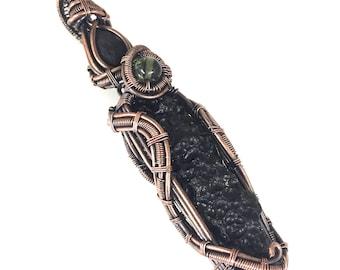 Tektite Power Pendant with Saffordite and Moldavite, wire wrapped in copper.  Tektite Triple Play