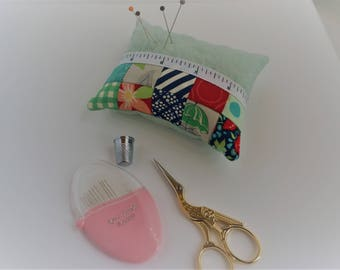 Patchwork Pincushion, Pin Cushion, Quilted, Sewing Gift