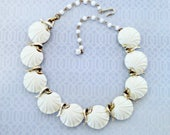 Vintage Necklace, Scallop Seashell Necklace, White Lucite Shells, Silver Tone, Adjustable, Mid Century, Circa 1950s, Includes Gift Box