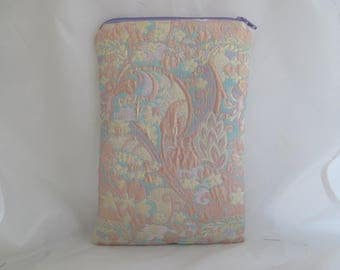 Brocade Tarot Card Bag Peach, Gold, Teal with Lavender Satin Lining and Zipper Dice Makeup Pouch Fancy