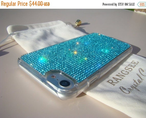 Sale iPhone 7 Case Aquamarine Rhinstone Crystals on iPhone 7 Transparent Clear Case. Velvet/Silk Pouch Included, Genuine Rangsee Crystal Cas