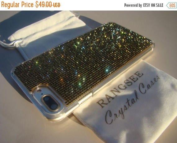 "Sale iPhone 7 Plus Case Black Diamond  iPhone 7 Plus Transparent Clear Case. "" Gold Edition"" for Jet Black, Genuine Rangsee Crystal Cases."