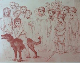 Two c1900 pages of drawings by French artist La Lyre: studies of children, dogs