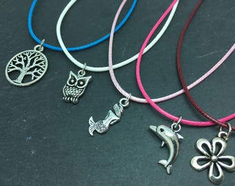 Customisable girls necklace, ballerina charm necklace, childrens cord necklace, cord charm necklace, childrens charm necklace, coloured cord