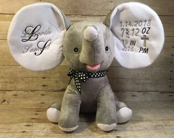 Personalized Cubbie Grey Dumble Elephant Cubbie Dumble Baby Cubbies Embroidered Stuffed Animal Personalized Gift Baptism Birth Announcement