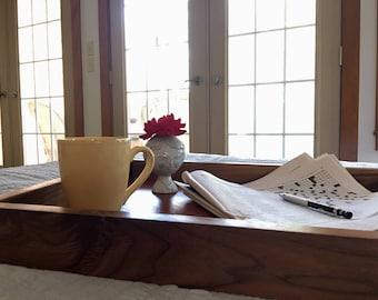 Walnut and mahogany serving tray with bronze handles