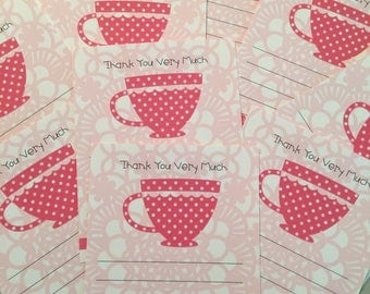 Tea Party Thank You Notes!  Package of 10 Pretty in Pink Flat Tea Party Thank You Notes for Little Girls