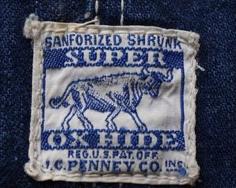 Vintage 1940s ~ 1950s Super Ox Hide Bib Overalls Blue Denim Workwear Sanforized