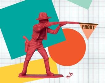 Kids poster, Prout, retro and vintage, cowboy, child, boy, size 30 x 40, A3, workshop VUDO, ateliervudo vudo