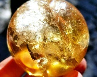 Gorgeous Golden Honey Calcite Sphere/Rainbow Flashes/Small Stand Included/220g