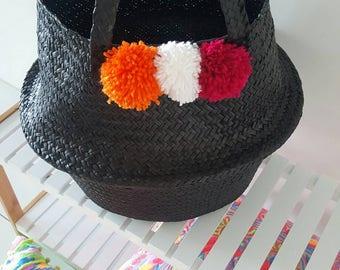 Black Seagrass Foldable Basket with Decorative Pom Poms