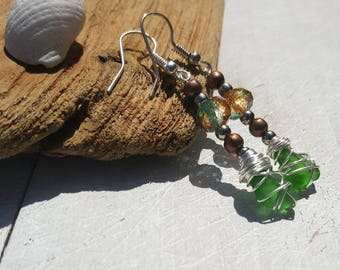 Sparkly Summer Sea Glass Earrings