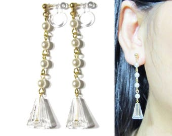 Swarovski Crystal Clip-on Earrings |28F| Long clip-ons Clear Rhinestone Clip Earrings Pearl Clip on Earring Dangle Clipon Gold Clip Earring