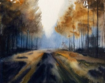 Pacific Northwest, Oregon, fall trees, watercolor trees, tree painting, autumn landscape, forest painting, forest road, fall forest, trees