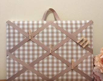 Memory Board French Style, Laura Ashley Taupe Checked, Memo, pinboard, Message board, Notes, Noticeboard, Board