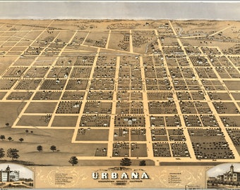 Poster, Many Sizes Available; Birdseye Map Of Urbana Champaign Co Illinois 1869