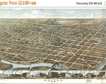 40% OFF SALE Poster, Many Sizes Available; Map Of Dayton, Ohio 1870