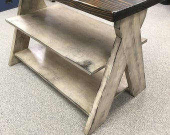 Entry table, tv console, tv stand, table, side board, entertainment center, x, rustic, distressed