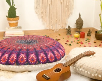 Ottoman Pouf Floor Cushions Pouf Seating Meditation Cushion Floor Pillow Seat Cushion Pouffe Mandala Cushion Cover FILLER NOT INCLUDED