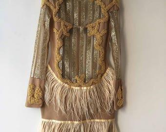 designer inspired runway handmade beaded bodycon fringe mini dress