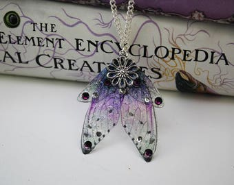 Fancy Little Purple Fairy Wing Pendant - Gossamer Fairy/Faerie Butterfly Cicada Wing Statement Necklace
