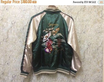 Birthday Sale Vintage Embroidered Japanese Souvenirs Sukajan Varsity Jacket Geisha Design Good Condition Size M Rare