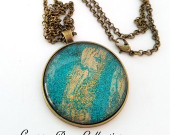 Granny Bear Collection - Teal & Gold Glitter Large Necklace