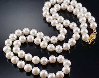 Vintage Glass Pearl Necklace Heavy Knotted Champagne White Estate Jewelry