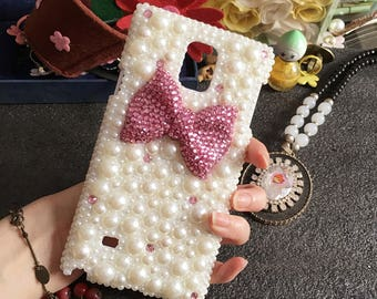 Bling Lovely Mixed Pearls Girly Pink Bow Tie Gems Sparkly Chic Crystals Rhinestones Diamonds Fashion New Hard Cover Case for Mobile Phones