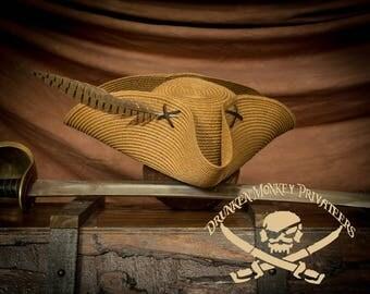 Straw Pirate Tricorn Hat, Pirate Hat, Straw Tricorn, Straw Hat