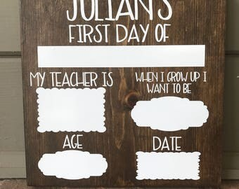 First Day Of School Sign | Dry Erase Sign | Wooden Sign | Back To School Sign | Rustic Wood Sign | Dry Erase School Sign | School Sign