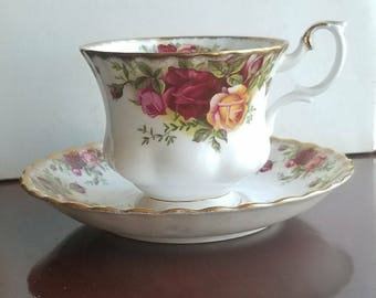 Antique Old Country Rose Bone China Tea Cup & Saucer