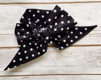 NOIR DOTS Gorgeous Wrap- headwrap; fabric head wrap; polka dot head wrap; newborn headband; baby headband; toddler headband; baby headwrap