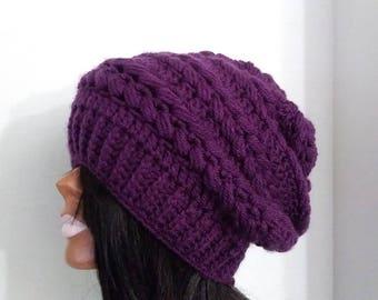 Crochet Hat,Purple Slouchy, slouchy hat, purple beanie, orchid slouchy hat , plum slouchy beanie, winter hat, warm hat