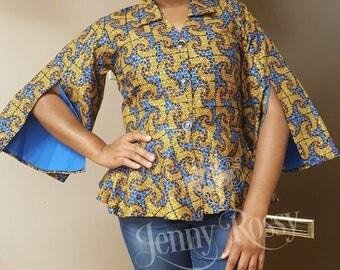 African clothing Top, African print peplum top, Ankara split sleves top,Gold Ankara blouse