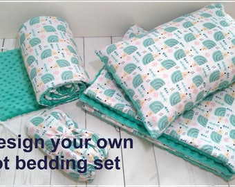 Cot Bedding Set, Cot Minky Set, Minky Bedding, Blanket Pillow Bumper, Nursery Bedding, Toddler Bedding, Baby Boy Bedding, Baby Girl Bedding