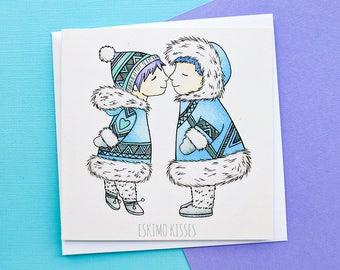 Romantic Christmas Card Hand Drawn Eskimos | Girlfriend Christmas Card,Boyfriend Christmas Card,Wife Christmas Card,Husband Christmas Card