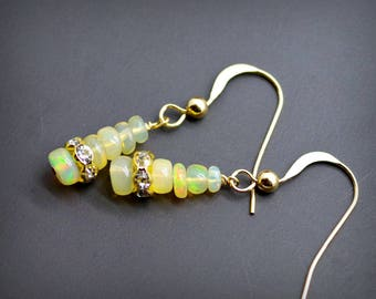 Opal Earrings, Ethiopian Opals, Fire Opals, Wedding Gift, Bridesmaid Gift, Gift for Her, Handmade Earrings, Fiery Opals, Rhinestones