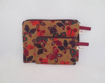 Handbag or pouch + coin purse - spring set - Butterfly was