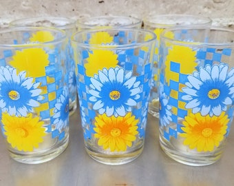 Vintage Kig Indonesia Juice Glasses/Set of 6/Blue & Yellow Flowers w Checkered Blue Pattern/Retro Juice Glass/Vintage Kitchen/Juice Time!