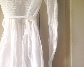 French First Holy Communion Dress/White Antique Handmade + Belt/Organza