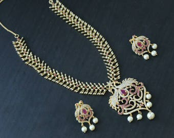 CZ Polki Necklace, Ethnic CZ Necklace, Indian Jewelyr, Indian Necklace